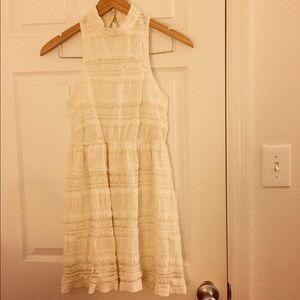 Sleeveless Cream Lace Dress